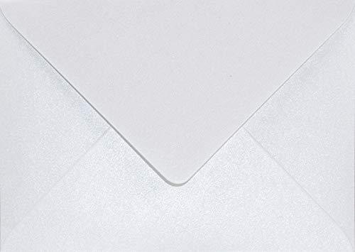 100 Perlmutt-Weiß DIN B6 Briefumschläge 125x175mm Aster Metallic White Spitzklappe ohne Fenster Perlmutt-Glanz-Umschläge Perlglanz Pearls Perleffekt metallisch-glänzende Kuverts Metallic-Effekt