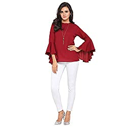 Stylemyth Womens Crepe Flute/Bell Sleeve Top
