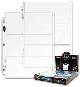 300 BCW Pro 3 Pocket Currency Pages ~ 3 BOXES