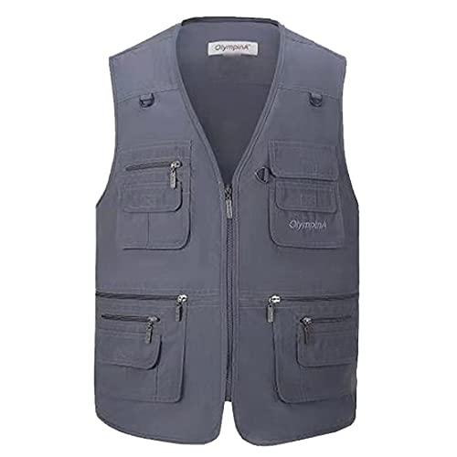 Hwalleum - Chaleco multifuncional para hombre, para verano, ligero, para safari, varios bolsillos, para trabajo, pesca, caza, senderismo, chaqueta transpirable y de secado rápido