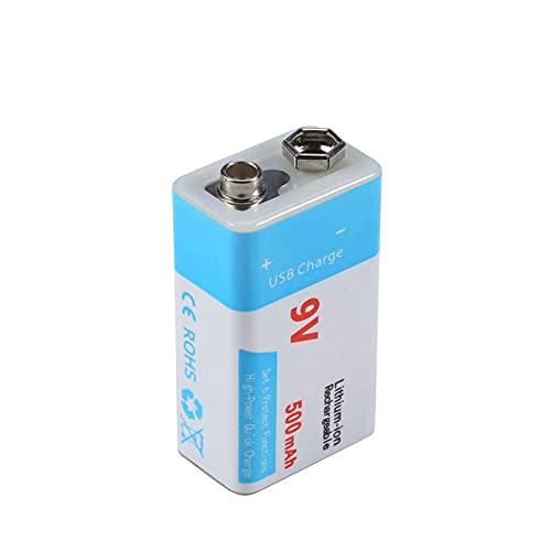RitzyRose Batería de iones de litio USB de 9 V 1000 mAh / 500 mAh, recargable para productos electrónicos 1 unidad 500 mAh