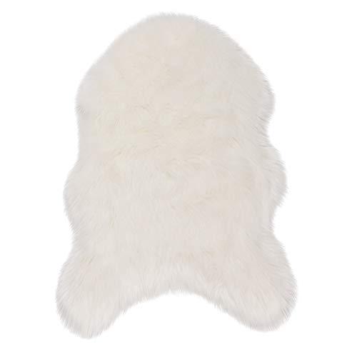 WOLTU TP3517ws-L Faux Lammfell Schaffell Teppich, Longhair Fell Optik, Wolle Sofa Matte Bettvorleger, 60 x 90 cm, Weiß