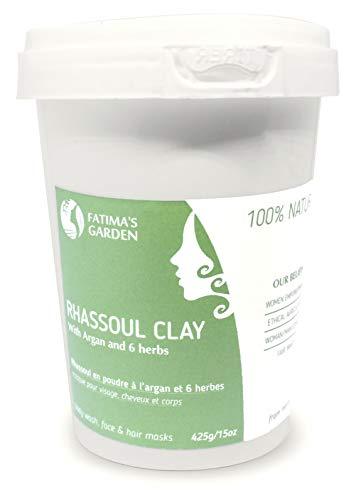 Ghassoul Argile 100% naturel aux herbes - Rhassoul Marocain pour visage, cheveux et Hammam par Fatima's Garden -Adoucissant, Purifiant pour la peau ; Végan sans cruauté-425gr