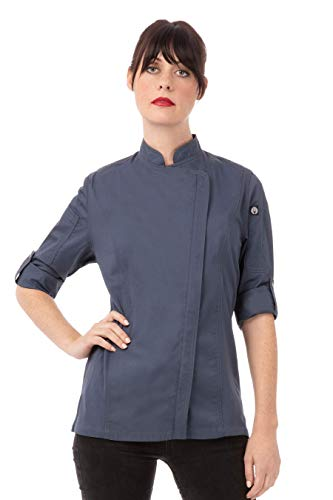 Chef Works Women's Hartford Chef Coat, Blue, Medium