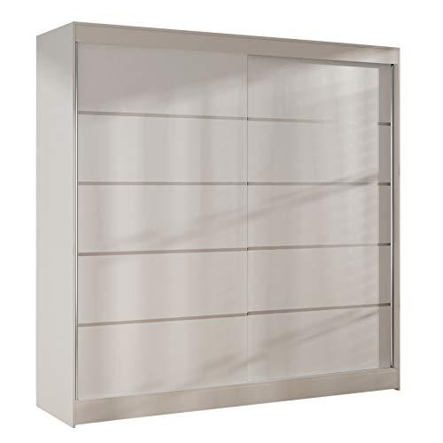 Sofnet Kleiderschrank Basti IV 200 cm - Schwebetürenschrank mit Kleiderstange und Einlegeboden, Schlafzimmerschrank mit 2 Türen, Schiebetüren, 200x215x58 cm (Weiß)