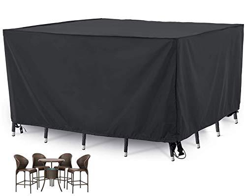 HSGAV Fundas Muebles Patio Impermeables para Mesas y Sillas Cuadradas, Fundas Muebles Jardin Exterior, 420D a Prueba de Viento, Anti-UV, Negro,180x120x74cm