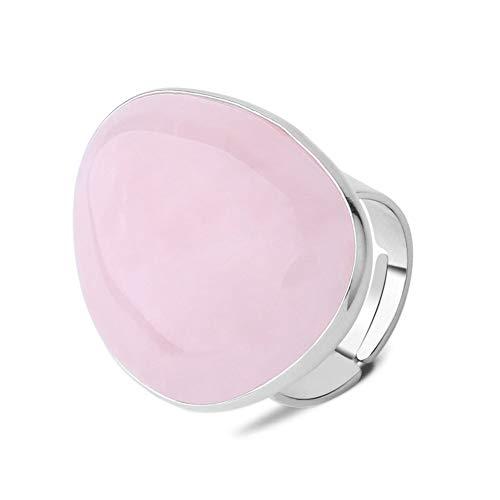 24 JOYAS Anillo Cuarzo Rosa Natural Ajustable de Forma Irregular con Cuentas Plateadas – Preciosa Alianza Cristal de Piedra Rosa para Regalo romántico y Elegante para Mujer