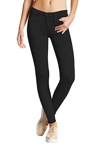 Hybrid & Company Womens Super Stretch Comfy Skinny Pants W/Rhinestones P44877SK Black L