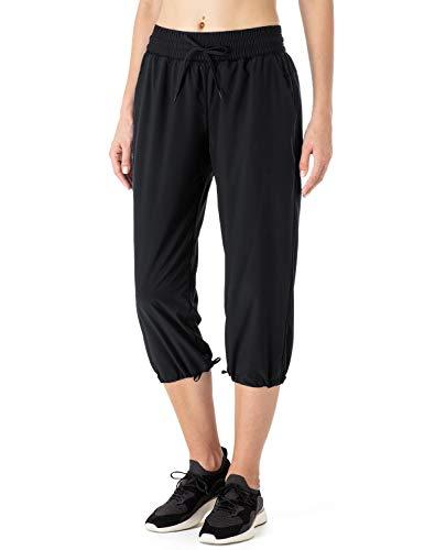 NAVISKIN Pantalones Casuales Protección UPF 50+ para Mujer Capri Pants Deportivos Pantalón Pirata Atlético Fitness Correr Térmico Chándal Deporte Yoga Running Entrenamiento (S, Negro)