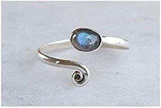 Grey Blue Labradorite Stone Toe ring midi ring 925 Solid Sterling Silver Girl Women Body Jewellery Adjustable Toe Ring