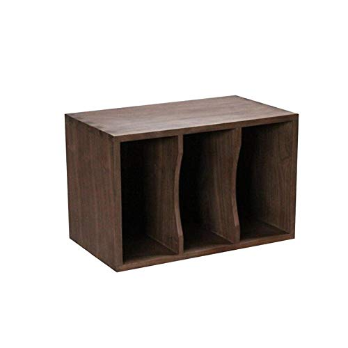 JCNFA planken hout CD opslag krate, Speaker Rack, LP Vinyl Record opbergkast, zwart walnoot hout, 3 raster opslag 23.62 * 13.77 * 15.35in Zwart Walnoot