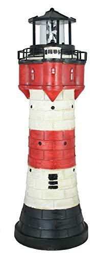colourliving Leuchtturm Roter Sand Solar 50 cm Solarbetrieben Maritime Dekoration mit LED Beleuchtung (Leuchtfeuer) Dekofigur