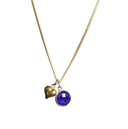 Lily Blanche Edinburgh Colgante de corazón 3D de oro vermeil de 24 quilates Sapphire