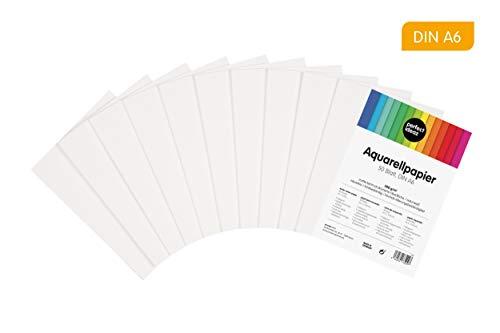 perfect ideaz 50 Blatt DIN-A6 Aquarell-Papier 300 g, Mal- & Zeichen-Block in weiß, Wasser-Farben Karton, watercolor paper für Skizzen, Aquarelle, Lavis, Gouache, Tempera & Acryl, im Post-Karten-Format