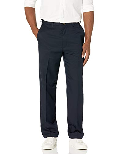 Haggar Men's Cool 18 Hidden Expandable-Waist Plain-Front Pant With Big & Tall Sizes