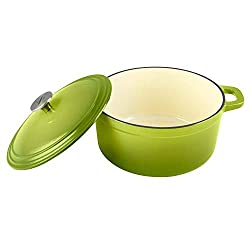 Zelancio Cookware 6 Quart Enameled Cast Iron Enamel Covered Dutch Oven Cooking Dish with Skillet Lid, Green
