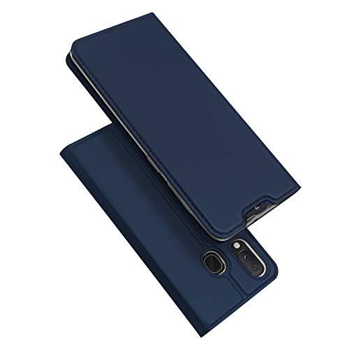DUX DUCIS Coque Samsung Galaxy A20e, Premium Étui de Protection [Stand Support] [Porte-Cartes de Crédit] [Fermeture Magnétique] TPU Bumper Housse en Cuir pour Samsung Galaxy A20e (Bleu Profond)