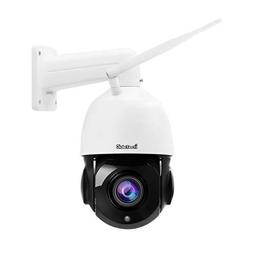 PTZ WiFi Dome IP Kamera 5MP mit 20-fachem optischen Zoom Unterstützung 2-Wege-Audio 400 Fuß Nachtsicht, IP66 wasserdichte Onvif H.265-Überwachung für den eingebauten SD-Kartensteckplatz im Freien