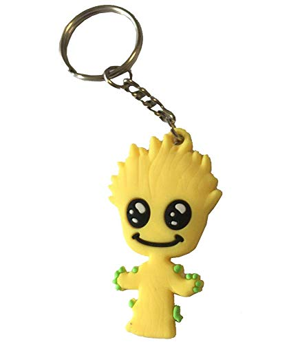 Diligencer Groot KeyringKeychain Hyun Cute Pop Keychains 3D Figural Silicone Crafts for Home Useful Light Metal Coil Ornaments Decorations