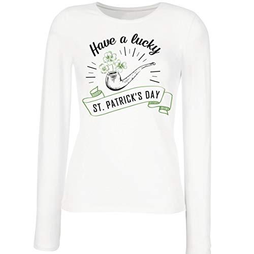 lepni.me Camisetas de Manga Larga para Mujer Feliz Da de San Patricio en Irlanda Suerte Charms Fiesta Regalo (XXL Blanco Multicolor)