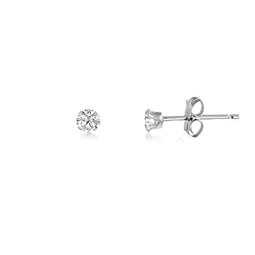 2MM Classic Brilliant Round Cut CZ Sterling Silver Stud Earrings - WHITE/CLEAR - Or Choose From 2mm to 12mm. 2-WHTE