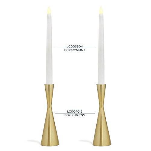 LampLust 2 Brass Finished Taper Candle Holders, 7.5 Inches, Metal, Hourglass Shape, Fits All Standard Size Candlesticks