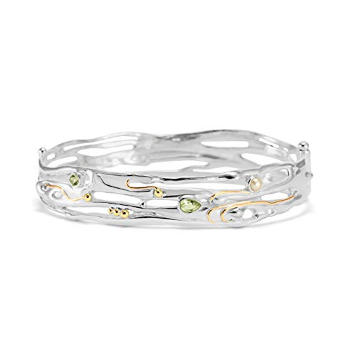 Banyan Jewellery Women's 925 Sterling Silver & 14ct Gold Organic Bangle with Faceted Green Amethyst and Freshwater Pearl