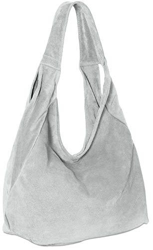 Caspar TL618 Damen Wildleder Schultertasche, Farbe:hell grau