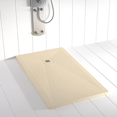 Shower Online Plato de ducha Resina PLES - 90x100 - Textura Pizarra - Antideslizante - Todas las medidas disponibles - Incluye Rejilla Color y Sifón - Crema RAL 7015