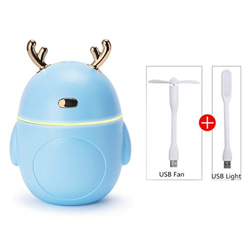 Leuke hert bevochtiger Cool Fog machine verstuiver Led Light 3-in-1 mini aromatherapie machine aromatherapie bevochtiger aroma diffuser bevochtiger thuis Blue 3-in-1