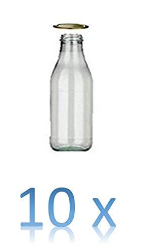 10 leere Glasflaschen 500ml MILCH Saftflaschen Weithals-Flaschen Einmachglas Essig- Öl Flasche Likörflaschen Schnapsflaschen Milchflaschen 0,5 Liter l + + Aktion 3 Minis ca. 25 Spülgänge pro Stück