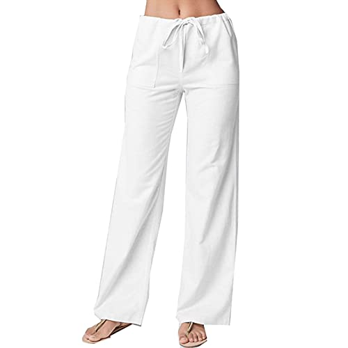 Pantalones Casuales Rectos De AlgodóN Y Lino Sueltos De Color SóLido De Moda para Mujer