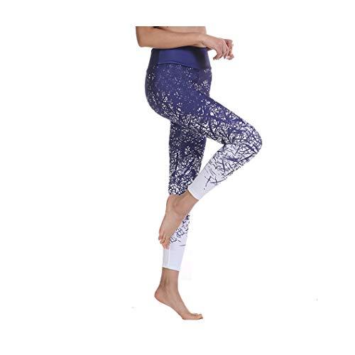KKMAOAO Damen Yoga-Hose, modische bedruckte Hüfte hohe Taille Leggings Hohe Taille Schlankheits-Hose Damen Blau Sport Hose Sommer Outdoor Reisen Wild L farbe