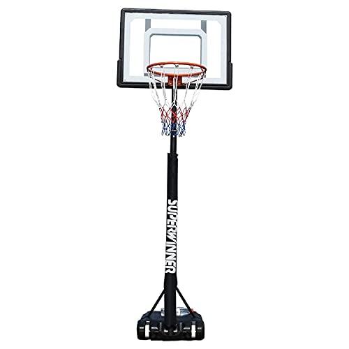 LYYJIAJU Aro de Soporte de Baloncesto portátil Hoop de Baloncesto Ajustable en Altura, Sistema de Soporte de Baloncesto Adulto para niños portátiles con Tablero Transparente y Borde de Canasta