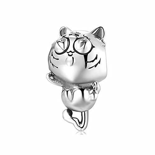 LISHOU Tiger King of The Forest Beads 100% 925 Encantos De Plata Esterlina Colgantes para Hacer Joyas Se Adapta Al Brazalete De Pulseras Originales De Europa