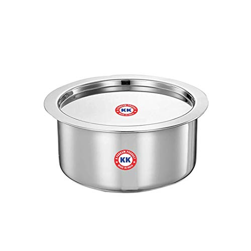 """New Stainless Steel 19""""- 1 Pcs Patila/Tope/Cookware Set with Lids K.K Brand (Large), 22 Guage Induction & Gas Stove Friendly 1 PCS Set (19 (27CM X 13.5CM)"""