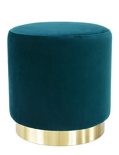 Suhu Pouf Puff Sgabello Poggiapiedi in Velluto Rotondo Base Dorata Moderno Basso Design Verde