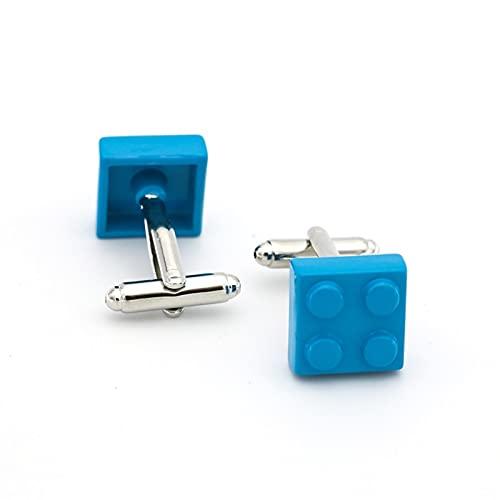 QFDM Cravate Clips & Boutons de Manchette 2 Paires Boutons de Manchette Muti-Couleur Briques Bleu Rouge Noir 9 Couleurs Option cuivre Vêtements & Accessoires (Metal Color : Sky Blue)