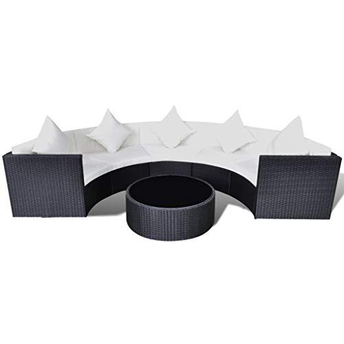 FZYHFA Juego de Sofá eph de jardín de 17Piezas en polirratán Negro diseño Simple y práctico, Estable y Duradera Juego de sofás de Exterior Sofá de jardín