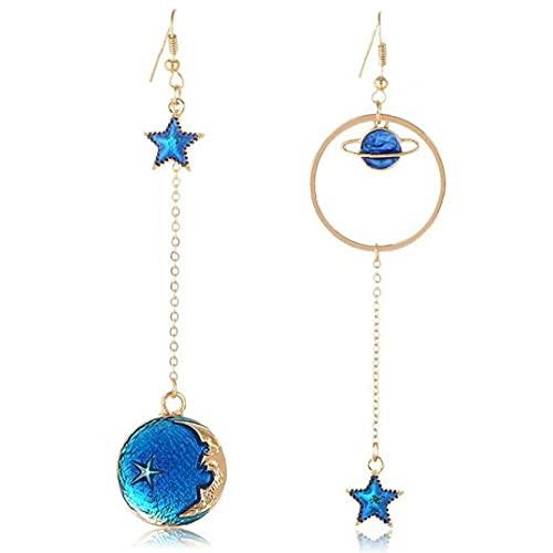 Froiny 1 Pares Pendientes Set Asymmetric Long Moon Star Earth Pendant Hook Colgle Stud Pendientes para Mujeres Niña