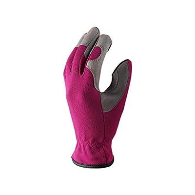 APQ Pack of 6 Lighting Grain Deerskin Gardening Gloves, Medium Size. Pink Resistant Workwear Gloves. Comfortable fit. Non-Slip Deerskin Gloves Ideal for Ideal for Yard Work, Gardening, Driving.