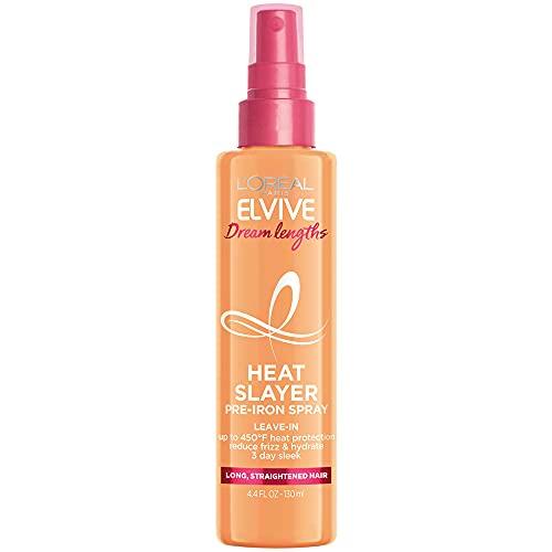 L'Oreal Paris Elvive Dream Lengths Heat Slayer Pre-Iron Spray Leave-In, 4.4 Ounce
