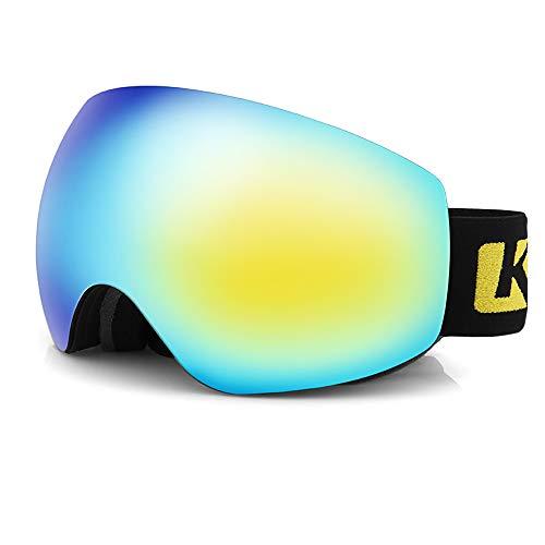 HXwsa Skibrille, Winter Schneesport Snowboardbrillen mit Anti-Fog UV-Schutz Doppel-Objektiv für Männer Frauen und Jugend Motorschlitten Skifahren Skating,B