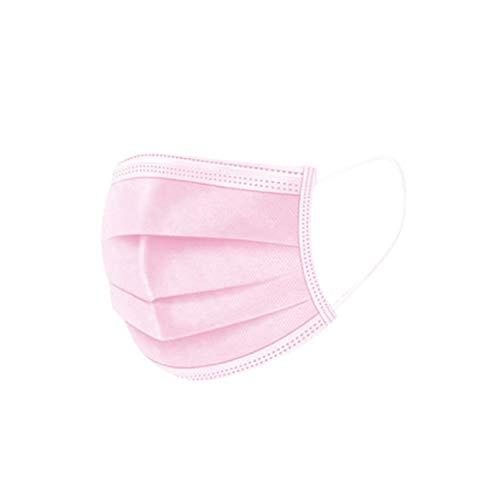 50 Stück Einmal Mundschutz, 3 lagig Mund-Nasenmaske, Staubs-chutz Atmungsaktive Drucken Mundbedeckung Atmungsaktive Bandana Halstuch Schals für Erwachsene Damen Herren (Rosa3)