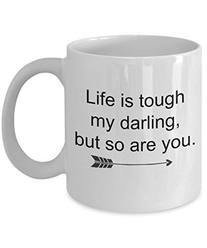 Dozili Grappige Koffiemok - Overiaanse Kanker Geschenken - Het leven is Tough My Darling en Zo ben je Koffiemok, Inspirationele Aanmoediging Geschenk voor Herstel, 11 Oz, Wit