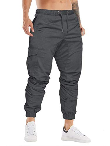 Cindeyar Herren Hosen Slim Fit Casual Jogger Sporthose Freizeithose Cargo Chino Jeans Hose (Dunkelgrau 01,2XL)