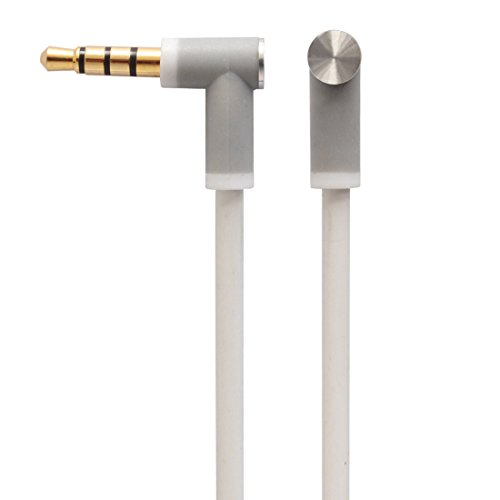 New Version Original Replacement Audio Cable Cord Wire with In-line Microphone and Control + Original OEM Replacement Leather Pouch/Leather Bag for Beats by Dr Dre Headphones Solo/Studio/Pro/Detox/Wireless/Mixr/Executive/Pill (White)