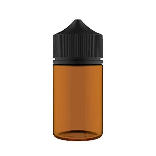Chubby Gorilla V3 75 ml Stubby Pet Botellas de plástico de Unicornio para líquidos, aceites y E-Liquid - Botellas cuentagotas vacías - 5X 75ml (Botella ámbar, con Tapa Negra)
