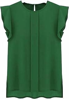 Fyuanmeiinsdxnv Womens tops summer Blouse Women Tops Ladies Casual Loose Chiffon Short Tulip Sleeve Blouse Shirt Tops Femi...