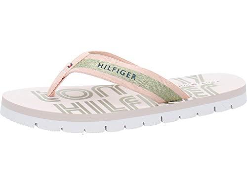 Tommy Hilfiger Sporty Feminine Beach Sandal, Sandalias con Punta Abierta Mujer, Rosa (Pale Pink Tap), 42 EU